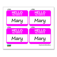 Mary Hello My Name Is - Sheet of 4 Stickers