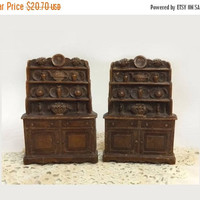 ON SALE - Kitchen Hutch Bookends, Pair Vintage Syroco China Cupboard Book Ends, Cottage Chic Display, Rustic Country Farmhouse Decor
