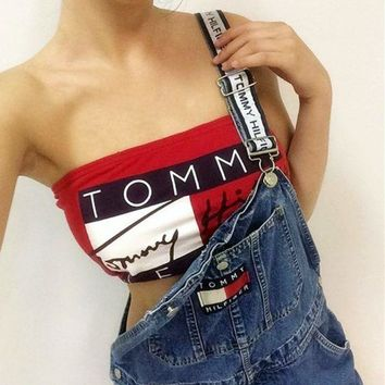 VONEV0G Tommy Hilfiger  Trending Fashion Women  Alphabets Words Crop Top Women Tank Vest T-Shirt Shirt