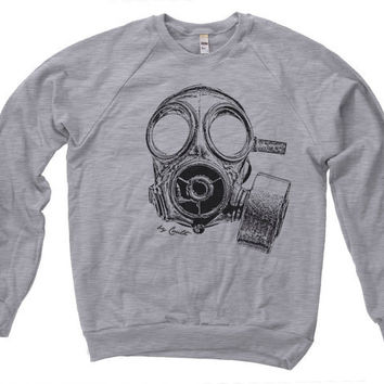 Unisex Vintage GAS MASK Hand Screen Print American Apparel Fleece Raglan Sweatshirt Longsleeve Available S M L XL  Water Based Ink