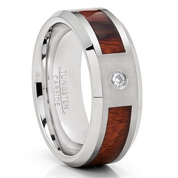 Koa Wood Wedding Band - Tungsten Ring - White Diamond Tungsten - Men's Ring