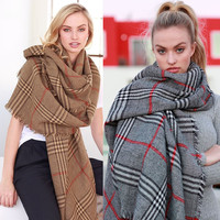 WOMEN Winter BRITISH RED PLAID CHECKS OVERSIZED BLANKET SQUARE Scarf Wrap Shawl