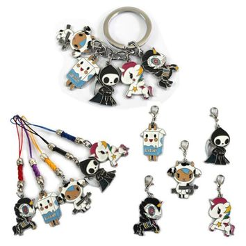 Anime Cute Cartoon tokidoki Metal Alloy zinc Figures Keychain fashion pendants charms phone straps model Cosplay keyring figure