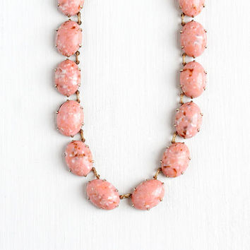Vintage Art Deco Marbled Peachy Pink Lucite Stone Beaded Necklace - 1930s Gold Tone Cabochon Cut Oval Round Beads Unique Costume Jewelry