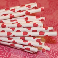 50 Red Hearts Paper Straws with Printable Flags by ThePartyFairy