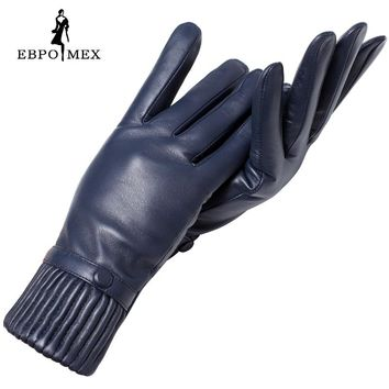Genuine Leather glove Good quality gloves female Fashion leather gloves Vintage winter gloves women black Weatherization