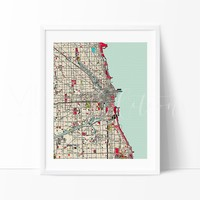 Chicago, City Map Art