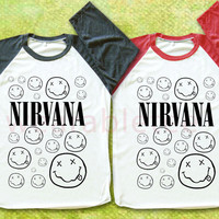 Nirvana TShirts Alternative Rock TShirts Raglan Tee Shirts Baseball Tee Shirts Unisex TShirts Women TShirts Men TShirts
