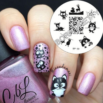 Cute Cat Deer Sheep Design Nail Stamping Plates Template Stamp Nail BORN PRETTY Stamping Template Image Plate 1Pc BP59#19362