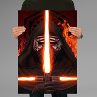 Poster Print Kylo Ren Star Wars Triple Light Saber Wall Decor Canvas Print - halawatani.com