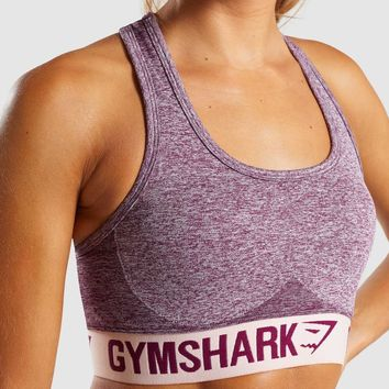 Gymshark Flex Sports Bra - Dark Ruby Marl/Blush Nude