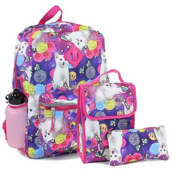 Confetti Adorable Kitty Girls Back Pack W/Lunch Kit & Pencil Case Combined