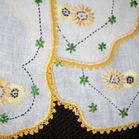 Chair Linens, Set of Three, Hand embroidered, Country decor, Yellow and White, Floral embroidery Antimacassar, Mothers day