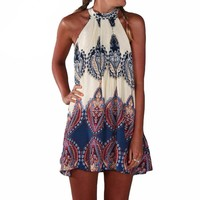 Fashion Women Dress Summer Loose Printed Halter Style Sleeveless Hippie Mini Dress Plus Size Women Clothing