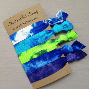 The Blue Green Tie Dye Hair Tie Collection - 5 Elastic Hair Ties by Elastic Hair Bandz on Etsy