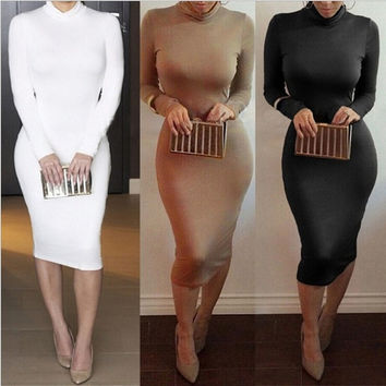 Autumn New Sexy Women High Collar Long Sleeve Slim Package Hip Skirt Party Clubwear = 1956876548