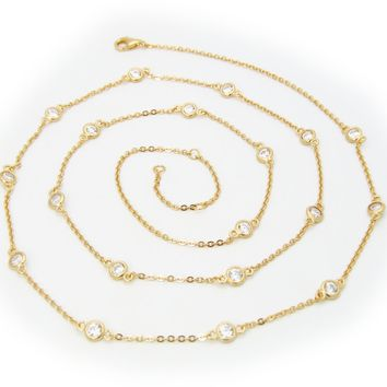 """Golden CZ by the Yard Necklace, 24"""""""