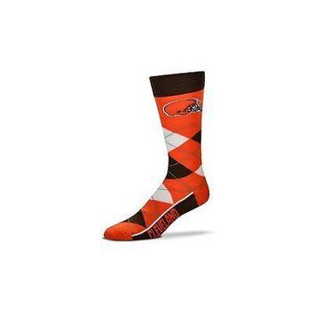 NFL Cleveland Browns Argyle Unisex Crew Cut Socks - One Size Fits Most