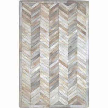 Madisons Cream Ivory Herringbone Pattern Cowhide Patchwork Rug