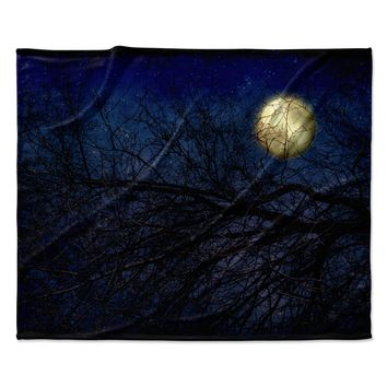 "Sylvia Coomes ""Blue Moon "" Blue Celestial Fleece Throw Blanket"