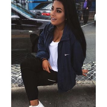 """NIKE"" Women Hooded Sweatshirt Cardigan Jacket Coat Windbreaker"