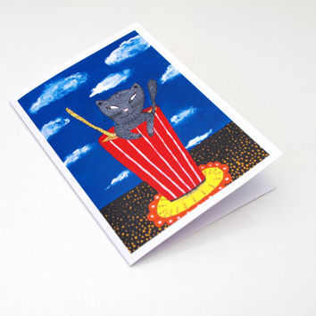 Cocktail CARD Red white blue CAT card - Funny party card for cat lover - Coffee art card - Card for coffee lover - Animal art Birthday card