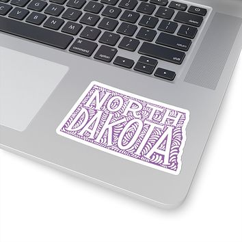 North Dakota State Shape Sticker Decal - Purple
