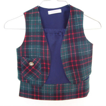 CLEARANCE - Girls Tartan Wool Vest and Skirt Set - Size 3 - Handmade by Me! Upcycled Outfit