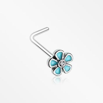 Adorable Plumbago Flower Sparkle L-Shaped Nose Ring