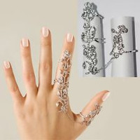 *[R]-Double Duty Chain Link Rhinestone Statement Ring