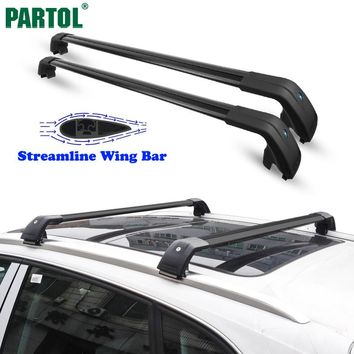 Partol Universal Car Roof Rack Cross Bars Crossbars 132LBS 60KG Aircraft Aluminum Cargo Luggage Snowboard Carrier fit 104-109cm