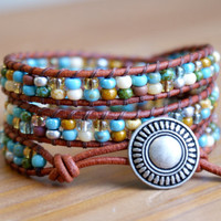 Multicolor Bohemian beaded leather wrap bracelet, Blue, Green, Brown, Black, Yellow, mix, gift idea, hipster, by OlenaDesigns, SALE