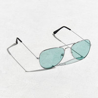 Turquoise Top Gun Aviator Sunglasses | Urban Outfitters