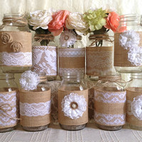 10x rustic burlap and white lace covered mason jar vases wedding decoration, bridal shower, engagement, anniversary party decor