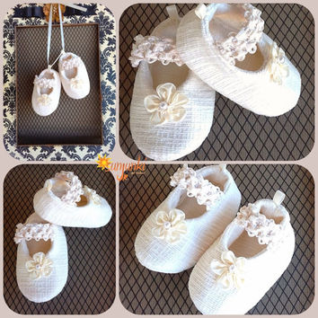Ivory Baby Shoes, Baby Girl Christening Shoes, Baptism Special Occasion Booties, Soft Sole Ivory Shoes, Holiday Shoe Baby Shower Gift