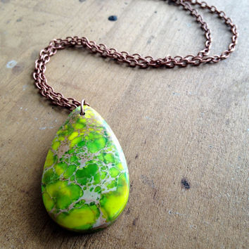 Green Sea Sediment Jasper Teardrop Necklace