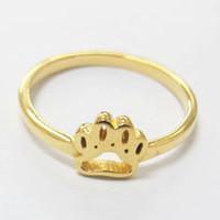 Pro Love - Pawprint Ring 18K Gold Plated Sizes 5-8