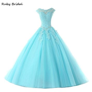 Ruby Bridal Hot Sale Ball Gown Quinceanera Dresses Long Blue Tulle Appliques Beaded Cap Sleeves Puffy Sweet 16 Dress R291