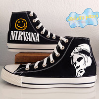 Nirvana Kurt Cobain Hand Painted Custom Shoes