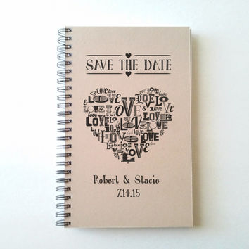 Save the date, Customized wedding journal, 5X8 spiral notebook, personalized, brown kraft white, engagement gift, wedding, bridal party gift