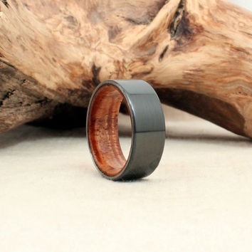 Black Zirconium Wooden Ring Lined with Light, Curly Koa