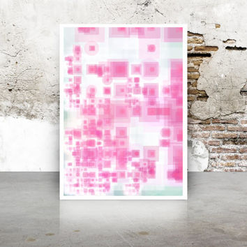 Watermelon green and pink Abstract Generative Art Dividing Bubbles and Boxes, Giclee print, geeky wall art.  Limited Edition growthBoxes_9p