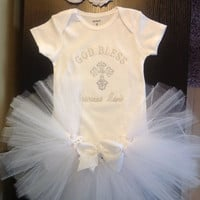 Baby Girl Christening Tutu Outfit personalized embroidered Onesuit white tutu skirt/ white rosette pearl and rhinestone headband /baptism