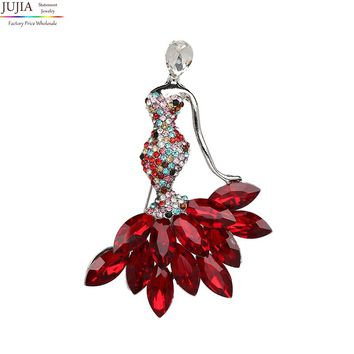 JUJIA  fachion crystal figure Brooches Pins for Women Blue Crystal Brooch Clothing Accessories Fashion Jewelry