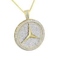 Car Logo Round Pendant Yellow Gold Finish Steel Box Necklace