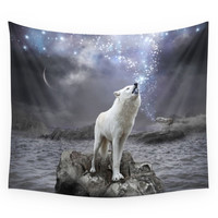 Society6 Stars Lie Hidden (Wolf Galaxy) Wall Tapestry