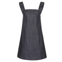 victoria beckham denim - navy denim pinafore dress