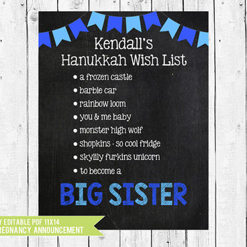Hanukkah Pregnancy Announcement Chalkboard, Hanukkah Big Sister Wish list, Hanukkah pregnancy sign, PDF you edit with ADOBE READER