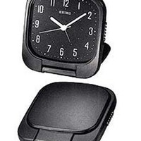 Seiko QXT003KR Black Dial Travel Alarm Clock