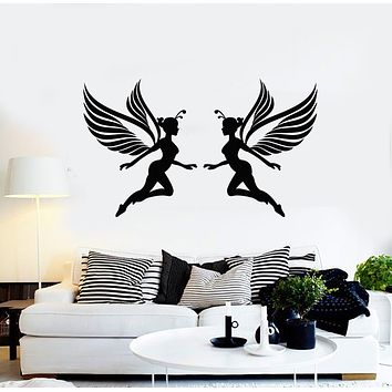Vinyl Wall Decal Fairy Girls Wings Fairytales Magic Kids Decor Stickers Mural (g842)